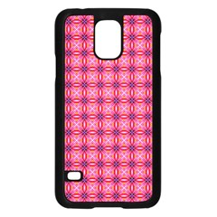 Abstract Pink Floral Tile Pattern Samsung Galaxy S5 Case (black)
