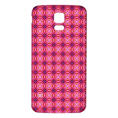 Abstract Pink Floral Tile Pattern Samsung Galaxy S5 Back Case (White)