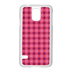 Abstract Pink Floral Tile Pattern Samsung Galaxy S5 Case (White)