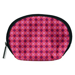 Abstract Pink Floral Tile Pattern Accessory Pouch (medium)