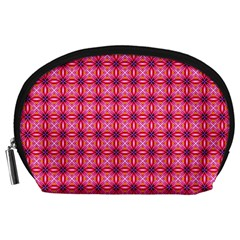 Abstract Pink Floral Tile Pattern Accessory Pouch (large)