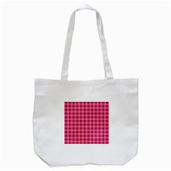 Abstract Pink Floral Tile Pattern Tote Bag (White)