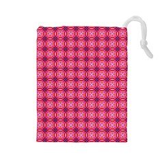 Abstract Pink Floral Tile Pattern Drawstring Pouch (large)