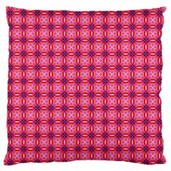 Abstract Pink Floral Tile Pattern Large Flano Cushion Case (One Side)