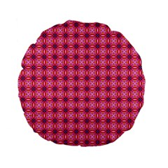 Abstract Pink Floral Tile Pattern 15  Premium Flano Round Cushion