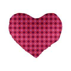 Abstract Pink Floral Tile Pattern 16  Premium Flano Heart Shape Cushion