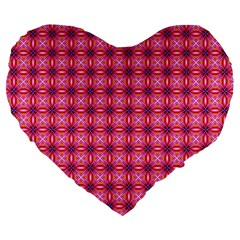 Abstract Pink Floral Tile Pattern 19  Premium Flano Heart Shape Cushion