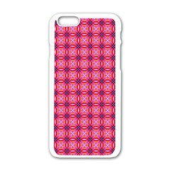 Abstract Pink Floral Tile Pattern Apple Iphone 6 White Enamel Case