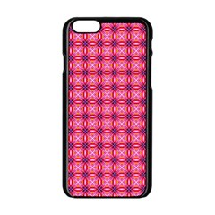 Abstract Pink Floral Tile Pattern Apple iPhone 6 Black Enamel Case