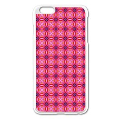 Abstract Pink Floral Tile Pattern Apple iPhone 6 Plus Enamel White Case