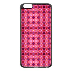 Abstract Pink Floral Tile Pattern Apple iPhone 6 Plus Black Enamel Case