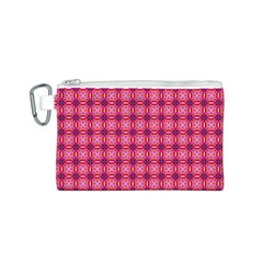 Abstract Pink Floral Tile Pattern Canvas Cosmetic Bag (small)