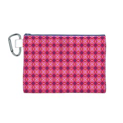Abstract Pink Floral Tile Pattern Canvas Cosmetic Bag (Medium)