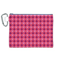 Abstract Pink Floral Tile Pattern Canvas Cosmetic Bag (xl)