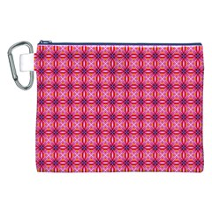 Abstract Pink Floral Tile Pattern Canvas Cosmetic Bag (xxl)