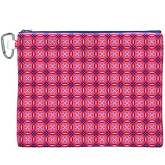 Abstract Pink Floral Tile Pattern Canvas Cosmetic Bag (XXXL)