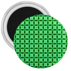 Green Abstract Tile Pattern 3  Button Magnet