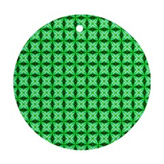 Green Abstract Tile Pattern Round Ornament