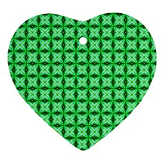 Green Abstract Tile Pattern Heart Ornament