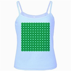 Green Abstract Tile Pattern Baby Blue Spaghetti Tank