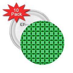Green Abstract Tile Pattern 2 25  Button (10 Pack)