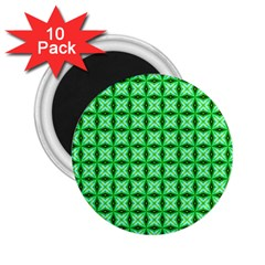 Green Abstract Tile Pattern 2 25  Button Magnet (10 Pack)