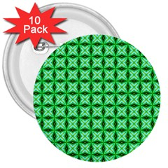 Green Abstract Tile Pattern 3  Button (10 Pack)