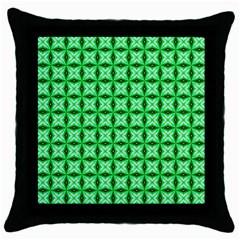 Green Abstract Tile Pattern Black Throw Pillow Case