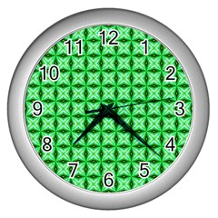 Green Abstract Tile Pattern Wall Clock (silver)