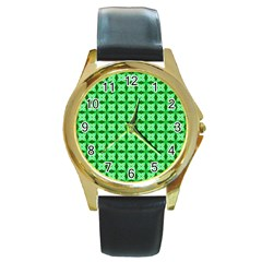 Green Abstract Tile Pattern Round Leather Watch (gold Rim)