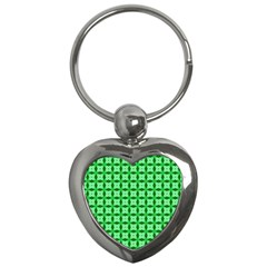 Green Abstract Tile Pattern Key Chain (heart)