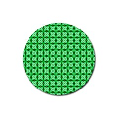 Green Abstract Tile Pattern Drink Coasters 4 Pack (round)