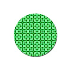 Green Abstract Tile Pattern Magnet 3  (round)