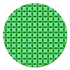 Green Abstract Tile Pattern Magnet 5  (round)