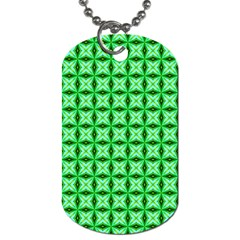 Green Abstract Tile Pattern Dog Tag (two Sided)