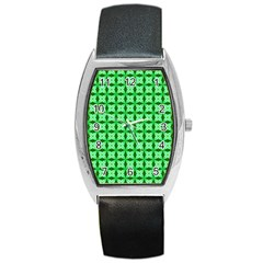 Green Abstract Tile Pattern Tonneau Leather Watch