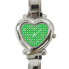 Green Abstract Tile Pattern Heart Italian Charm Watch