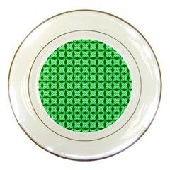 Green Abstract Tile Pattern Porcelain Display Plate