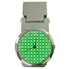 Green Abstract Tile Pattern Money Clip With Watch