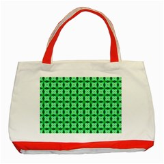 Green Abstract Tile Pattern Classic Tote Bag (red)