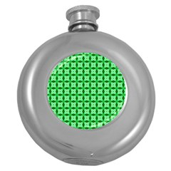 Green Abstract Tile Pattern Hip Flask (round)