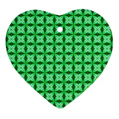 Green Abstract Tile Pattern Heart Ornament (two Sides)