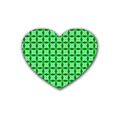 Green Abstract Tile Pattern Drink Coasters (heart)