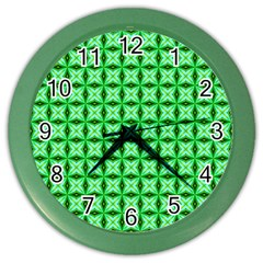 Green Abstract Tile Pattern Wall Clock (color)