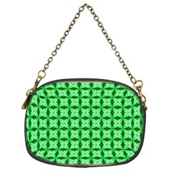 Green Abstract Tile Pattern Chain Purse (one Side)