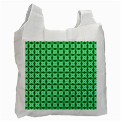 Green Abstract Tile Pattern White Reusable Bag (two Sides)