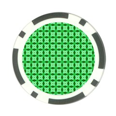 Green Abstract Tile Pattern Poker Chip (10 Pack)