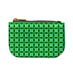 Green Abstract Tile Pattern Coin Change Purse