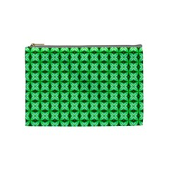 Green Abstract Tile Pattern Cosmetic Bag (medium)