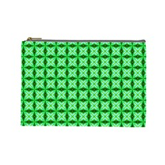 Green Abstract Tile Pattern Cosmetic Bag (large)